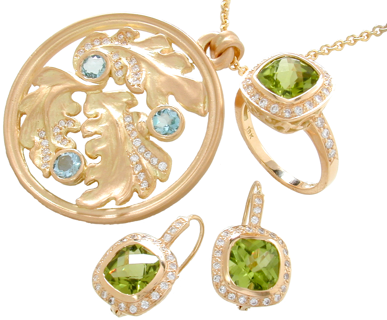Aquamarines, peridots and diamonds set in 18k gold.